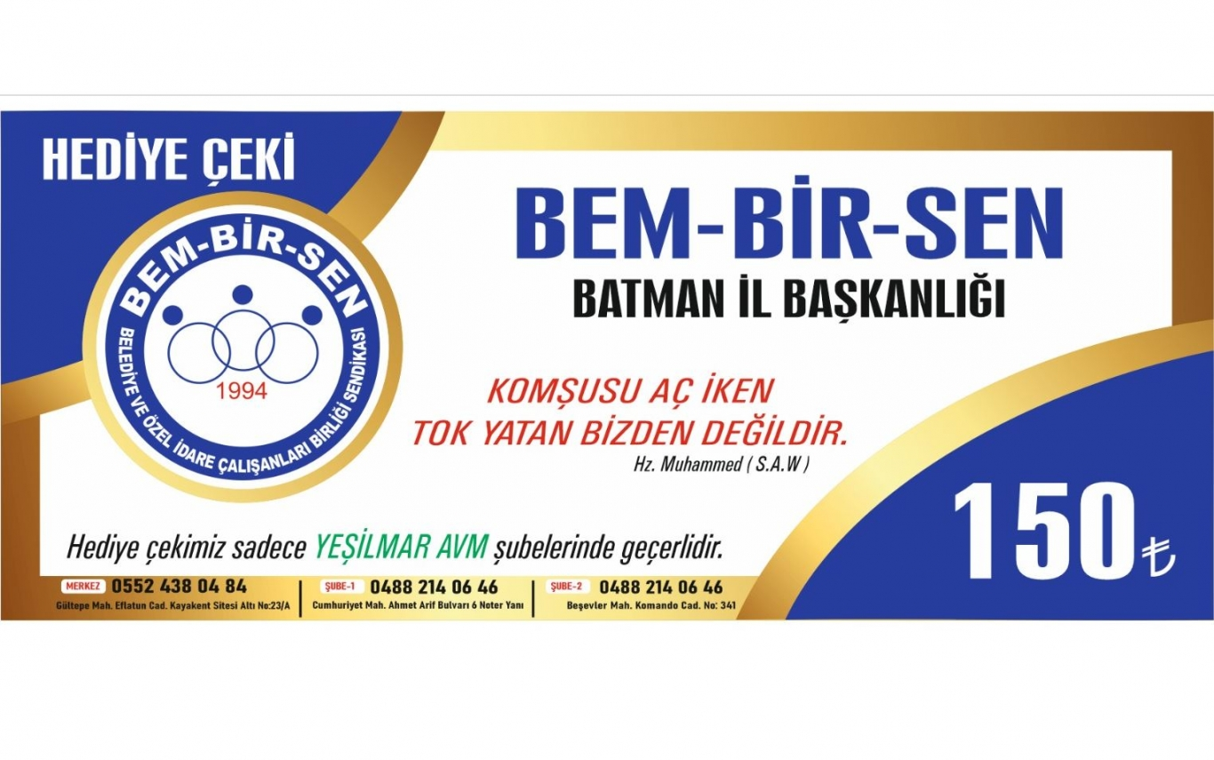 BEM-BİR-SEN'DEN 305 AİLEYE YARDIM