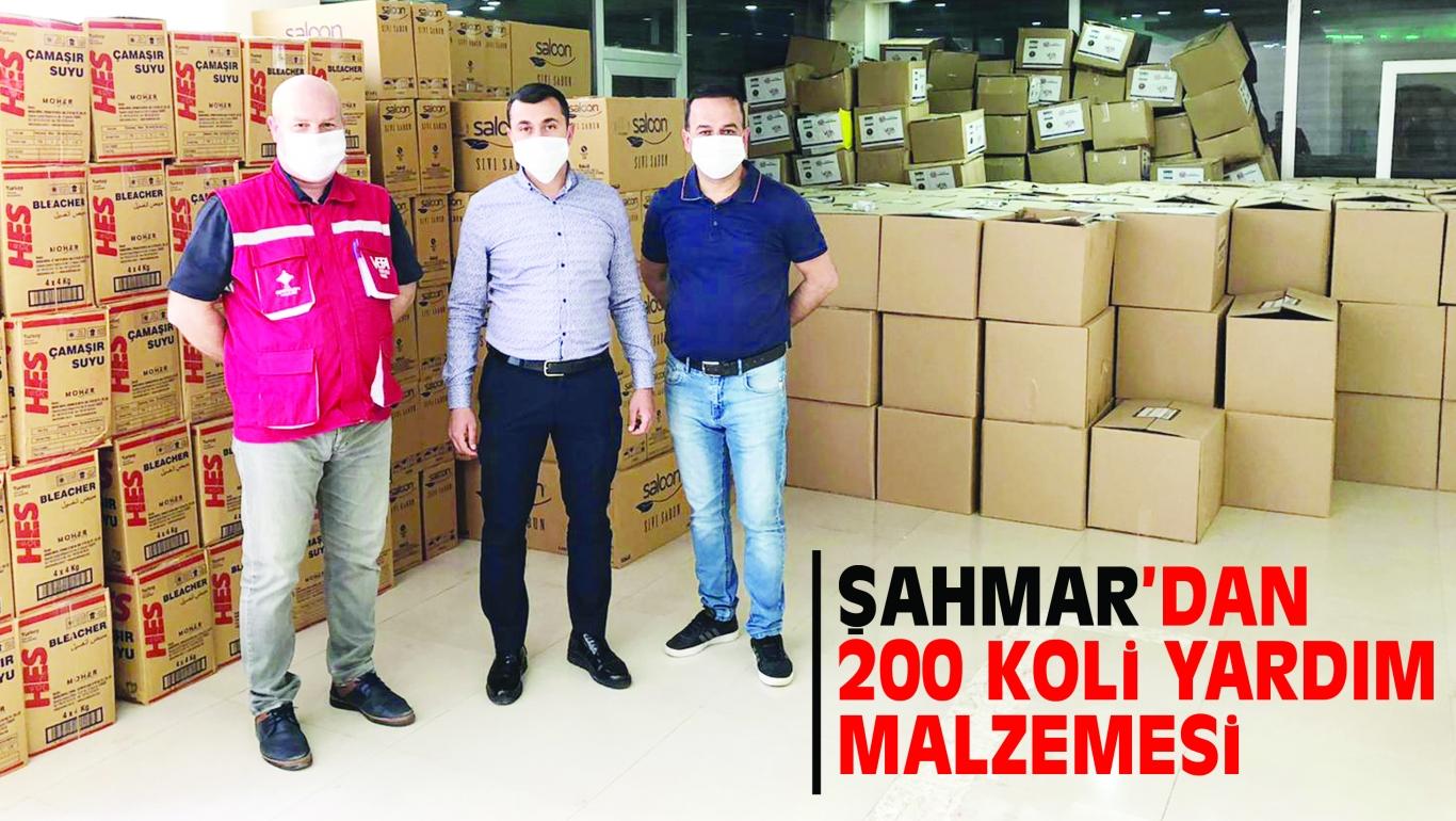 ŞAHMAR'DAN 200 KOLi YARDIM MALZEMESi